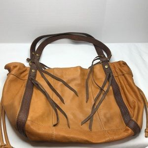 Lucky brand 10 x 14 x 4.5 gold brown leather tote